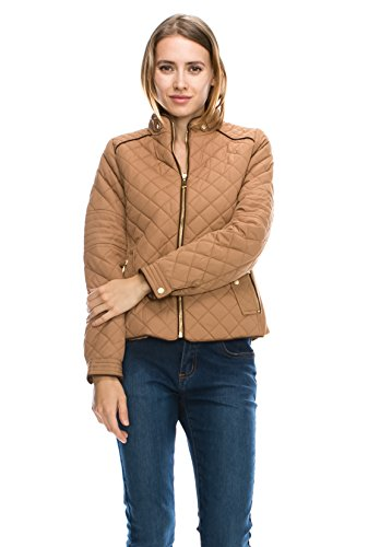 J Doe Style Womens Quilted Padding Jacket w/Suede Piping Details(Size:S-3X), Large, (Suede Piping)