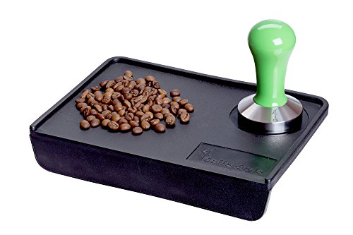 Coffee Tamper Standard for Espresso, Stainless Steel and Handle from solid wood (57mm, Green)