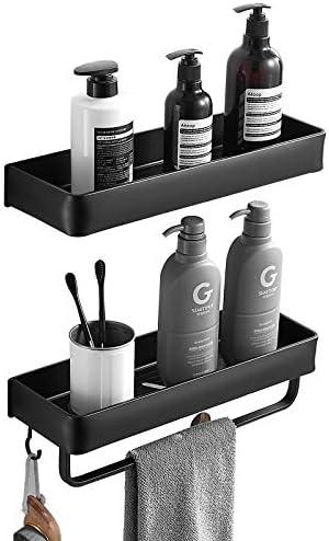 Delysia king Bathroom Shelves with Towel Bar and 5 Hooks,Metal Wall Mounted Storage Shelves Organizer for Bathroom, Kitchen, Set of 2 Black