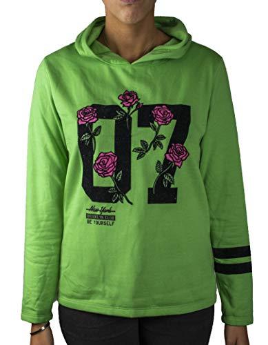CUTOUT Sudadera Casual de Mujer Verde con Capucha Hoodie y Estampado Floral al Frente y Doble Cinta en Las Mangas (S)