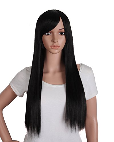 Black Straight Wig With Bangs (MapofBeauty 28