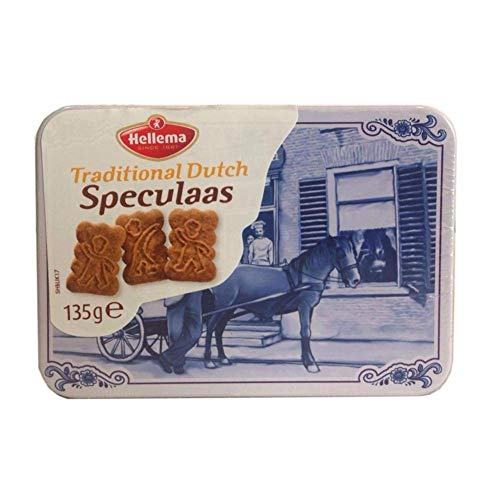 Hellema - Speculaas Spiced Gourmet Cookies in Delft Tin (Dutch) (4.7 Oz)