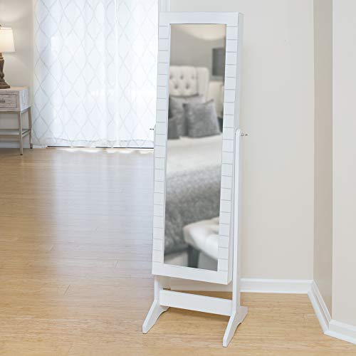 FirsTime & Co. 81008 Shiplap Cheval Jewelry Armoire Accent Wall Mirror, 57.5