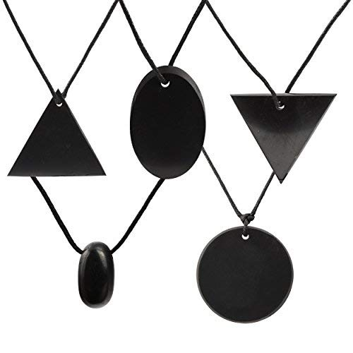 Shungite Pendants 5 Piece Gift Set - Triangle, Reverse Triangle, Drop, Circle & Oval - Guaranteed Authentic Quality Russian Natural Healing Stone - EMF Radiation Protection, Chakra Balancing Handmade