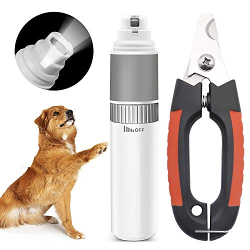 [Upgrade] Dog Nail Grinder Kit, Dog Nail Clippers and Nail Grinder for Pets with LED Light/Speed Control/USB Charge, Painless Paws Cat Nail Trimmer Dog Grooming Set for Small/Medium/Large Pets