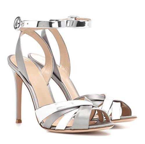 Heels Damen B uBeauty Silberweiß knöchelriemen Slingback Sommer Sexy Elegant Roman Sandaletten Sandalen Sandals High qq57X