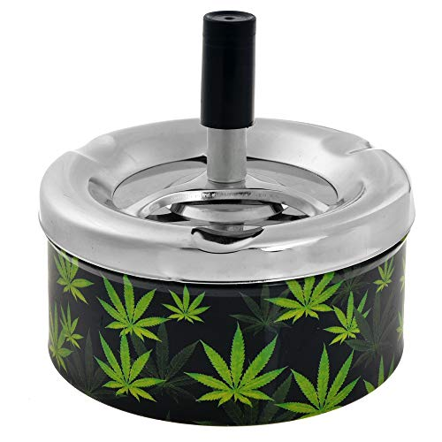 (NeraNena Ashtray Round Metal Push Down Spinning Tray with Rim Notches (Black-Green, 4.3