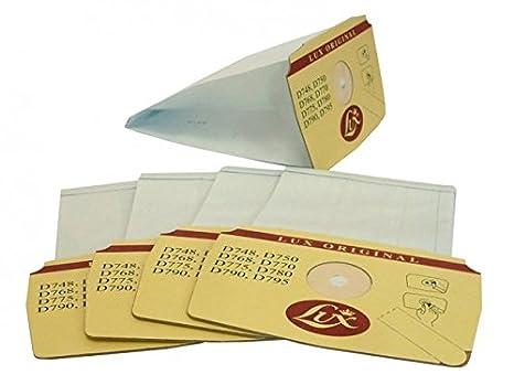 Lux 5 Bolsas Originales para aspiradora Modelos D748, D750, D768, D770, D775, D780, D790 y D795