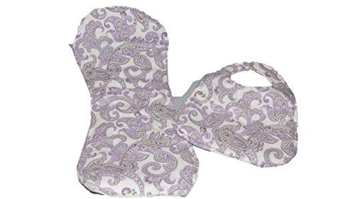 - Purple and White Paisley Bib and Burp Cloth