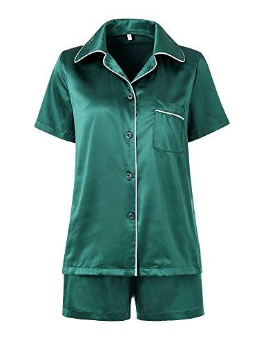 Women's Sleep Set with Shorts,Satin Pajama Silky top and Short Pant Loungewear -
