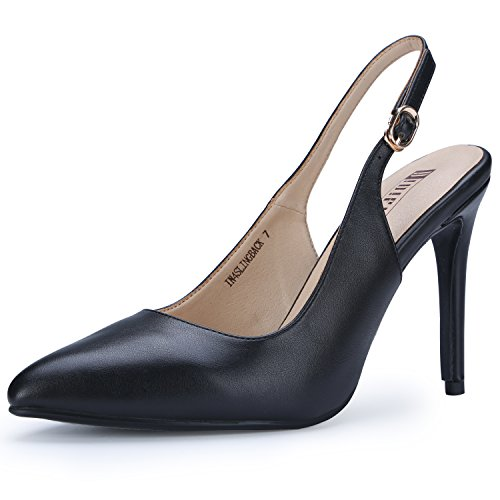 IDIFU Women's IN4 Slingback Pointed Toe Ankle Strap Stiletto High Heel Dress Pump (Black PU, 5 B(M) US)