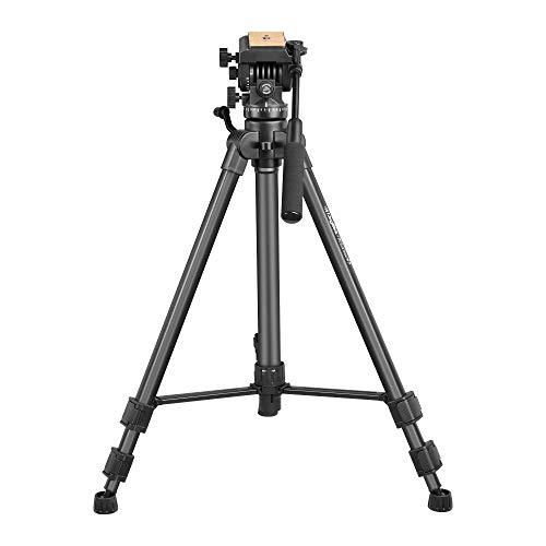 DIGITEK® DPTR 880 PRO (65 Inch) Aluminum Light Weight Tripod | with Fluid Video Head | for DSLR & Video Cameras| Maximum Operating Height: 5.45 Feet | Maximum Load Upto: 15 kgs (Black) (DPTR-880PRO)