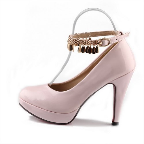 US Closed Round Solid PU High Pumps 8 Pink Metal Leather Toe WeiPoot B Heel with Patent Platform Womens M 5AgHwWU