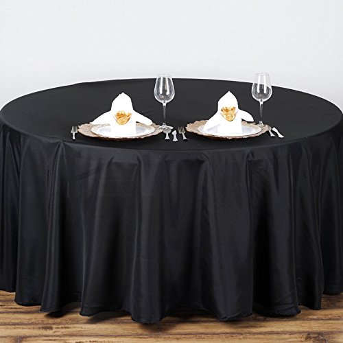 "Efavormart 90"" Round Black Wholesale Linens Polyester Round"