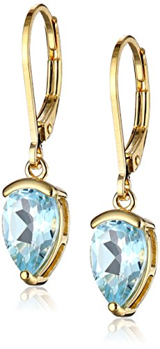 - 18k Yellow Gold Plated Sterling Silver Genuine Sky Blue Topaz Teardrop Leverback Earrings