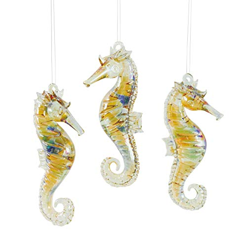 Christmas Ornaments Tan (CFF Seahorse Nautical Natural Tan 4 inch Glass Christmas Ornaments Set of 3)