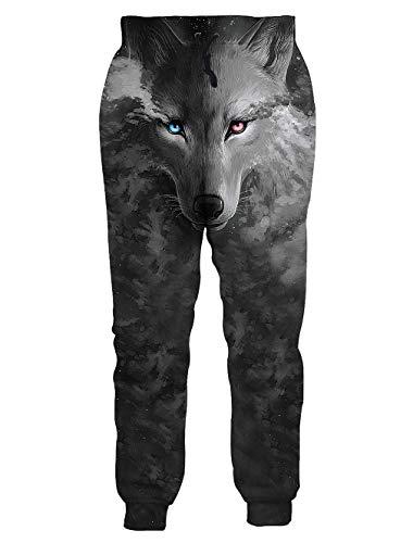 3D Graphic Printed Pants Mens Custom Slacks Charcoal Grey Black White Wolf Elastic Waist Fashion Casual Dress Sweatpants Classic Slim Fit Low Rise Trousers, Small - Rise Sweatpants Low