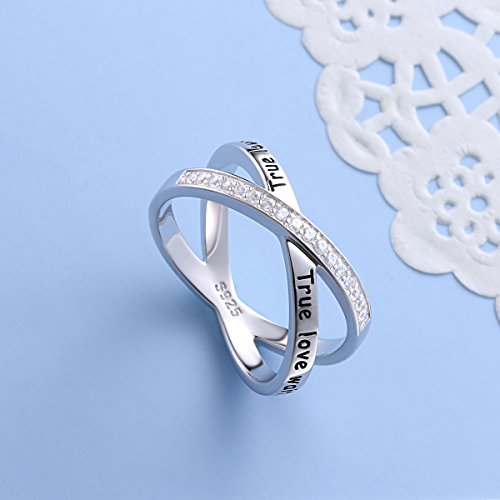 S925 Sterling Silver True Love Waits Infinity Criss Cross Rings for Women Lady, Size 7 by Silver Light Jewelry (Image #3)'