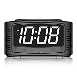 DreamSky Digital Alarm Clock with Snooze, 1.2 Inch Clear Led Digit Display with Dimmer, Simple Operate, Plug in Clock for Bedroom. (Black + White)