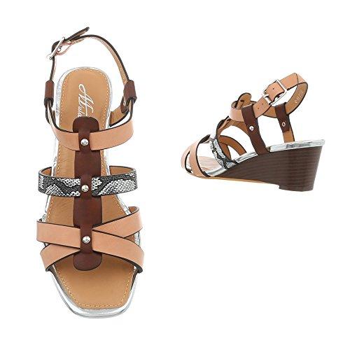 Q Damen Ital Sandalen und Multi bei Keilabsatz Design Beige 19 mit Sandalen Absatz PHwCHq