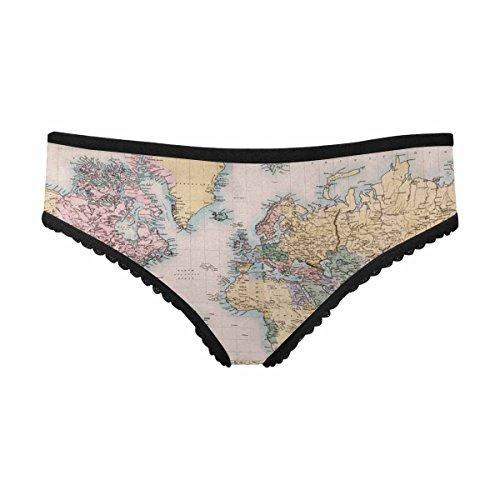 INTERESTPRINT Women's High-Cut Brief Panty Original Old Hand Coloured Map of The World on Mercators Projection Circa 1860 S ()