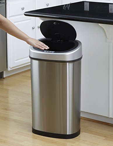 50L Óvalo delgado manos mejores ventas tacto de cocina libre sensor de movimiento de residuos basura