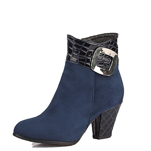 AgooLar Women's Soft Material Round Closed Toe Solid Low-top High-Heels Boots Blue lMSa5qQgry