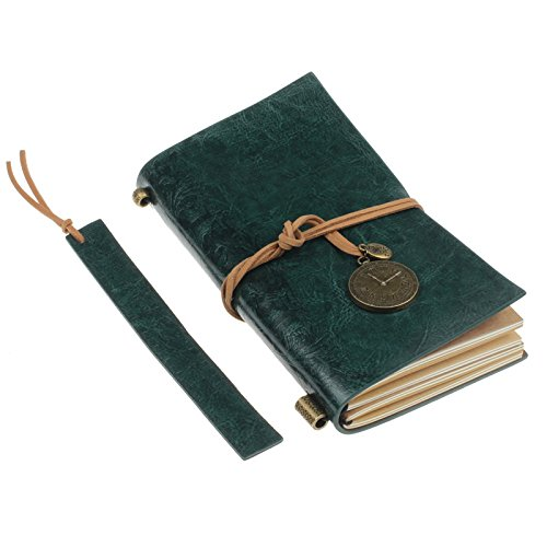 Meily(TM) Classic Vintage Leather Bound Blank Pages Journal Diary Notebook (Green)