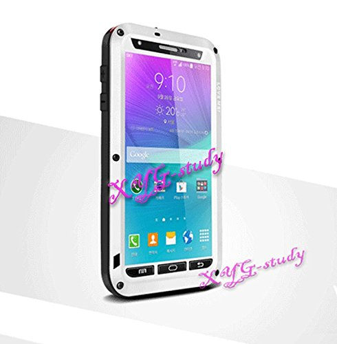 Shockproof Aluminum Gorilla Glass Metal Military Heavy Duty Armor Bumper Cover Case for Samsung Galaxy Note 4 N9100 @CoolWind ()