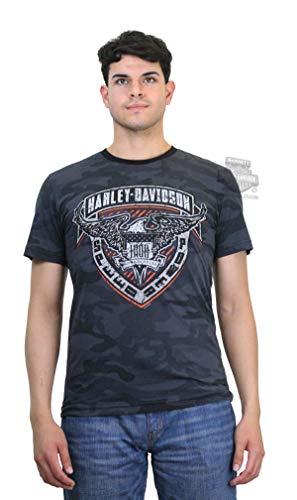 Harley-Davidson Mens Iron Badge Eagle Camo Print Black Short Sleeve T-Shirt (3X)