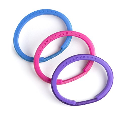 My Hair Tie Bracelets - Kids Multi-Color, Set of 3 in Purple, Pink, and Blue - BPA Free - For Wrists Sized Between 4.5