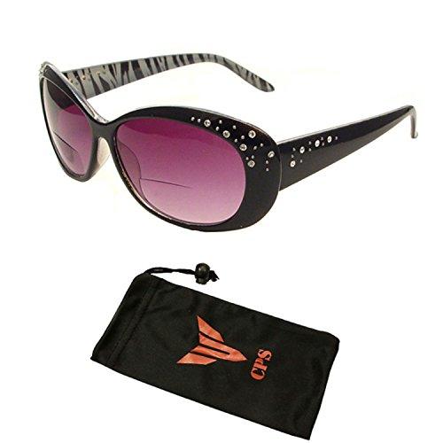 Beautiful Women's Rhinestone Bifocal Sun Readers Reading + Sunglasses All In One (Black, 1.75) - Sun Rhinestone