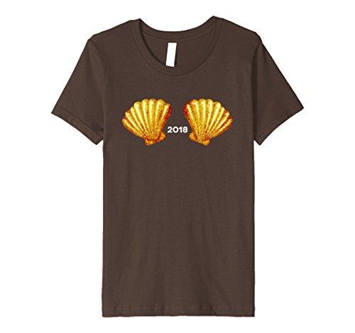 Kids New Years Eve Shirt 2018 Mermaid Sea Shell Shirt Top Bra 6 Brown