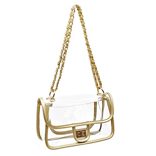 Laynos Clear Purse Turn Lock NFL Approved Chain Waterproof Crossbody Shoulder Bags Handbags Gold