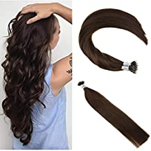 Ugeat 22inch Micro Nano Ring Fusion Hair Extensions 50Gram 1g/ Strand Easy Loop Micro Beads Real Hair Extensions Human Hair Dark Brown Color #2