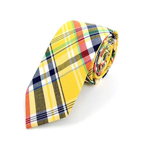 Men's Hipster 100% Cotton Plaid Designer Skinny Narrow Derby Day Necktie Tie ()