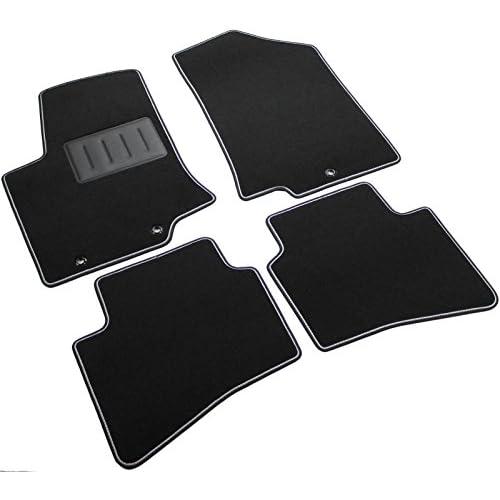 Il Tappeto Auto, Sprint02103, Tapis de sol en Moquette noire antidérapant, bord bicolore, talonnette renforcée en caoutchouc, pour Rio III modèles à partir de 2011