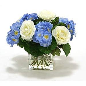 Distinctive Designs Waterlook Blue Primrose with Ranunculus in Rectangular Glass Vase 98