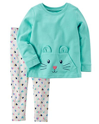 Carter's Baby Girls' 2 Piece Character Top and Leggings Set, Mint/Hearts, 3 Months