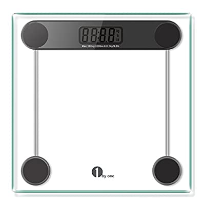 1byone Digital Body Weight Bathroom Scale with Step-on Technology, Tempered Glass, 400 Pounds