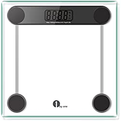 1byone Digital Body Weight Scale Bathroom Scale with Step-on Technology, 6MM Glass, Max Weight 400 Pounds