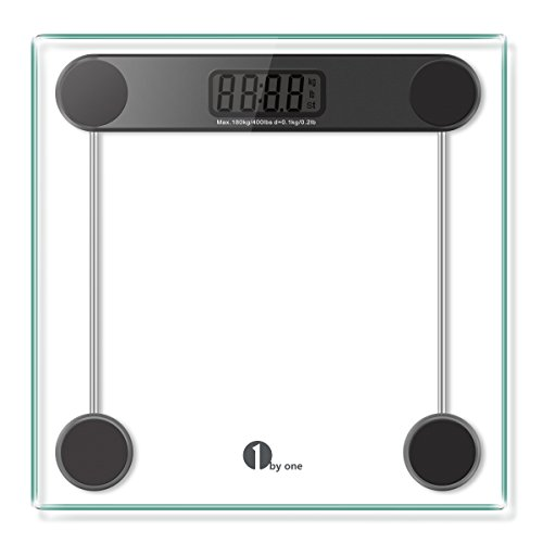 1byone-Digital-Body-Weight-Scale-Bathroom-Scale-with-Step-on-Technology-6MM-Glass-Max-Weight-400-Pounds