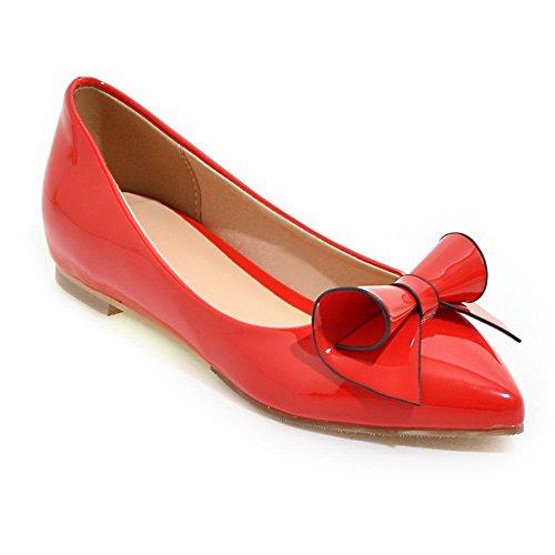 Balamasa Signore Tomaia A Taglio Basso Mule Winkle Rosaer Spun Oro Bowknot Pumps In Pelle Imitato-scarpe Rosse