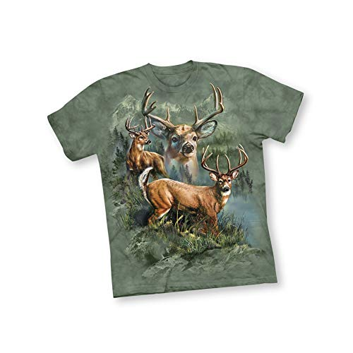 - Woodland Bucks Outdoor Scene Short Sleeve T Shirt with Crew Neckline - Gift Ideas for Nature Lovers and Hunters, Green, X-Large