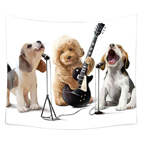 - QCWN Animal Dog Tapestry, Funny Smiling Indy Musician Pug Dog Playing Guitar and Sing Song Rock Roll Theme Tapestry Wall Hanging for Bedroom Living Room Dorm.(5, 78Wx59L)