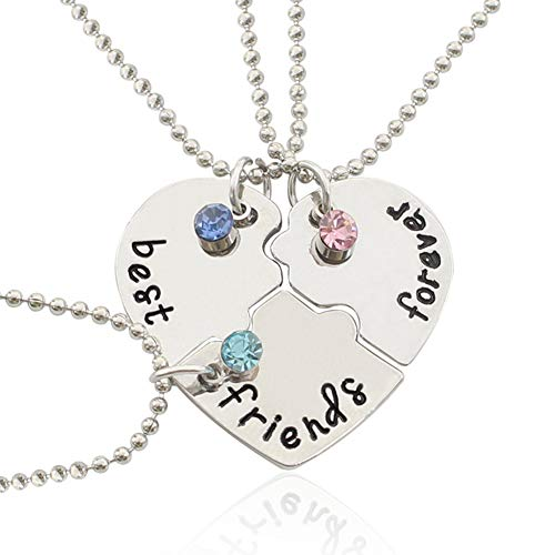 MyBuddy Best Friends Forever Necklace,Engraved Puzzle Friendship Pendant Necklaces Set of 3, Silver Tone Alloy Rhinestone Necklace
