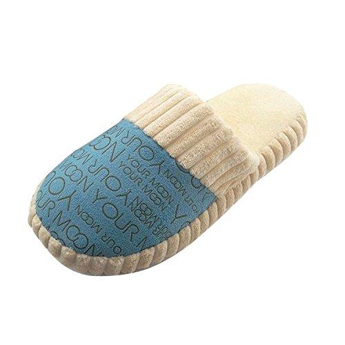 Minetom Paar Hausschuhe Baumwolle gepolstert Brief Pantoffeln Baumwolle Hausschuhe weiche warme Schuhe EU Größe Blau