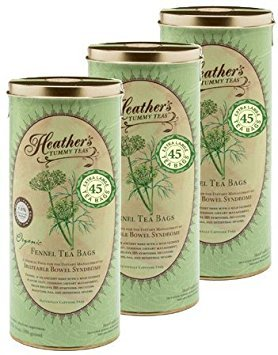 Heather's Tummy Tea Fennel Tea Bags BULK KIT for Irritable Bowel Syndrome ~ Heather's Tummy Teas Organic Fennel Teabags (3 Cans, 135 Jumbo Teabags)
