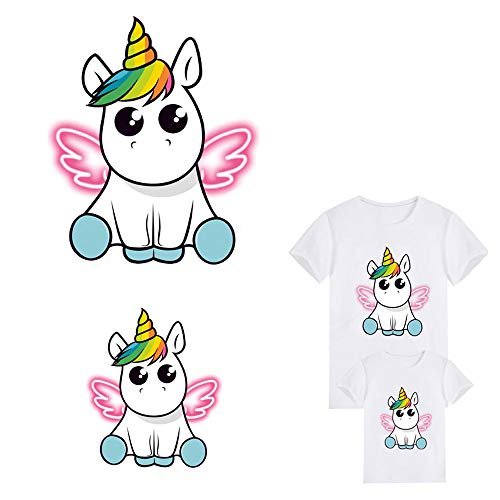 Unicorn Iron On Patch Iron-on Heat Transfer Stickers Dabbing Wings Unicorn Animal Patches Child T-Shirt Dresses Sweater Thermal Transfer Patch for Clothing (2 PCS Large and Small)