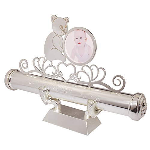 Certificate Holder,FGF Baby Silver Plated Engraved Keepsake Birth Certificate Holder with Stand and Photo Frame 9-Inch RKS-PCH013 ()